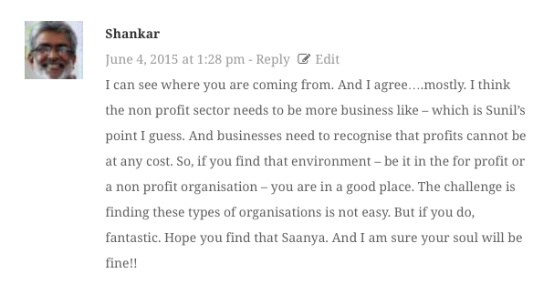 Comment from Shankar Venkateswaran on 'Why I Quit The Social Sector To Join The Corporate World;