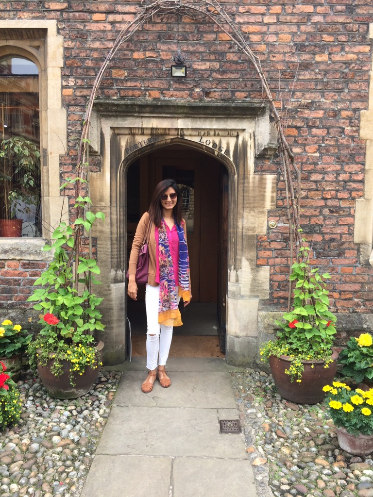 Posing at Peterhouse - The oldest college at Cambridge